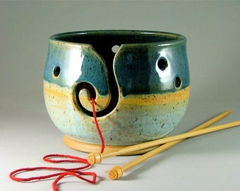 Pottery Yarn Bowl - Teal Blue, Light Blue with Yellow Band and Speckles / Ceramic Knitters Bowl / Spiral Slotted Yarn Bowl