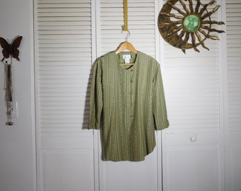 Green Tunic Ethnic India Bohemian Clothes Caftan Long Blouse Persian Tunic Indian Size 10 Casual Wear 3/4 Sleeve Boho Clothing