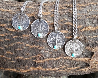 Turquoise Dime Necklace