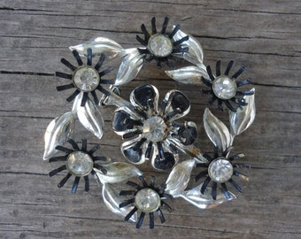 Silver and Black Rhinestone Brooch