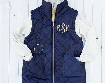 Monogrammed Quilted Vest | Navy, Camel, Mint, Cream, Hunter, Plaid, or Black
