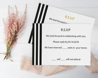 Stripes Wedding RSVP & Reception Card - Black Stripes Printable Response RSVP Card Editable PDF Template - Instant Download - DiY You Print