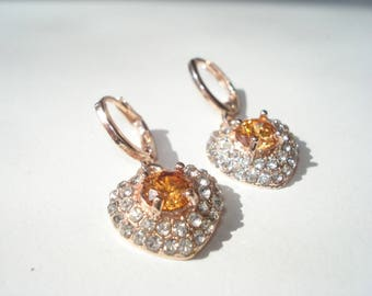 Citrine Crystal Heart Drop Earrings - Rolled Pale Rose Gold  - Bridal or Prom Sparkle