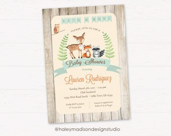 woodland baby shower invitation itu0027s a boy rustic style invitation forest friends invitation