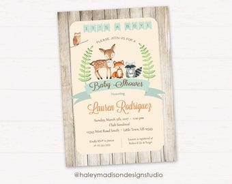 Woodland Baby Shower Invitation, It's a Boy, Rustic Style Invitation, Forest Friends Invitation DIGITAL FILE