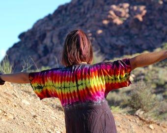 Tie Dye Top, OOAK Shirt, Small Kimono Dress, Festival Gear, Ladies Top, Hippie Dress