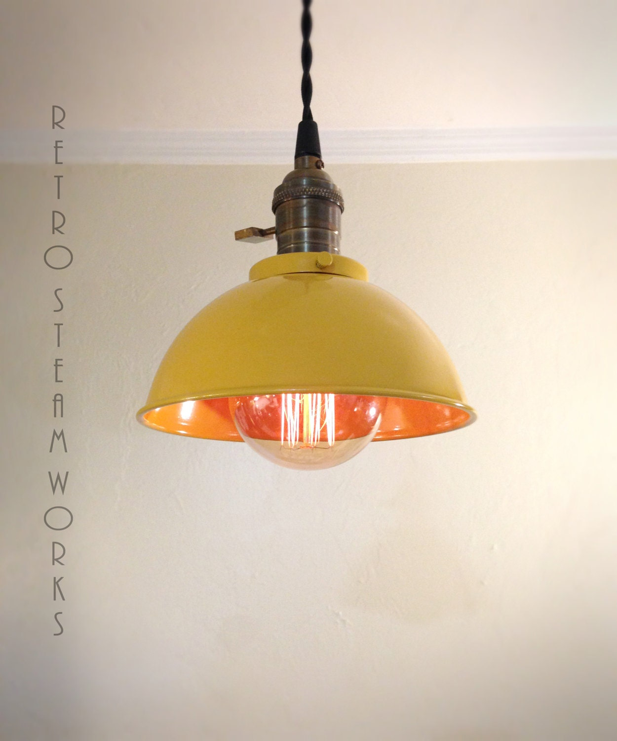 Ceiling Lights Yellow : Ceiling pendant light yellow rustic metal hanging loft lamp