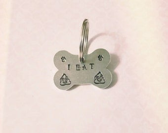 PET DOG TAG. Hand stamped. Aluminum. Safe Pet. Custom Made. Fun dog tag.