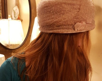 Vintage Hat For Spring, Dotted Swiss Topper, Aged Pastel Pink