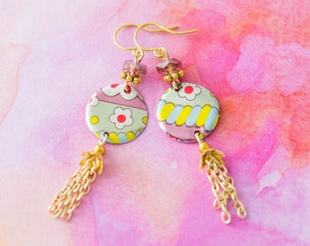 Colorful Flower Chain Tassel Earrings with Vintage Tin Circles and Soft Lavender Glass Beads, Tassel Earrings, Fun Flower Jewelry