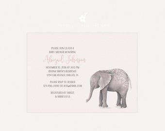 Baby Shower Invitation | DIY Printable Baby Shower Invitation | Elephant Baby Shower Invite | Gender Neutral Baby Shower