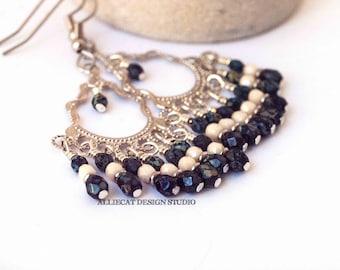 Boho Earrings | Gypsy Earrings | Bohemian  Earrings | Bohemian Luxe Black Cream Earrings