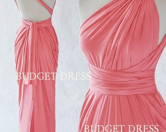 2017 NEW STYLE Salmon Pink Infinity Dresses, Mix And Match Bridesmaid Dresses, Twist Wrap Greek Prom Dresses, Long Evening Dress with Slit