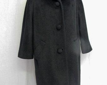 Lilli Ann Coat  Black Mohair Coat Mad Men Coat Black Wool Coat 1960 Coat