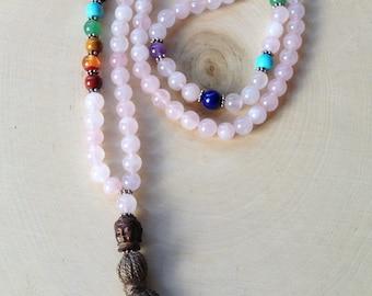 Rose Quartz Mala Prayer all Chakras 8mm