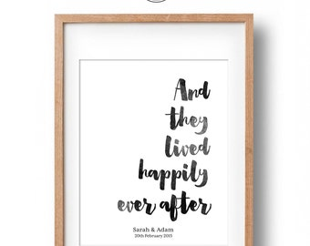 Happily Ever After | Printable Personalised Engagement Gift | Watercolour Art Print | Wedding Gift | Engagement Present | Digital File
