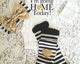 I'm going home today Set Custom Name Gold Glitter with Heart Gold headband and  Legwarmer Set Birth Announcement Bodysuit