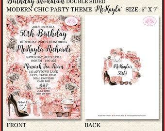 Fashionista Birthday Party Invitation Fashion Chic Black Coral 16th 50th Boogie Bear Invitations McKayla Theme Paperless Printable Printed
