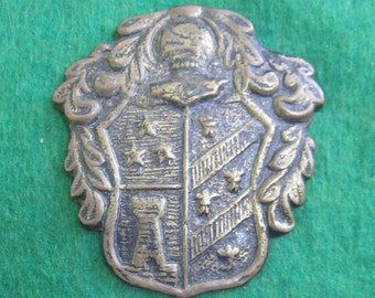 Very Old Bronze Heraldic Crest Coat of Arms Badge - Knight, Castle, Fluer des Les and Stars - Free Shipping