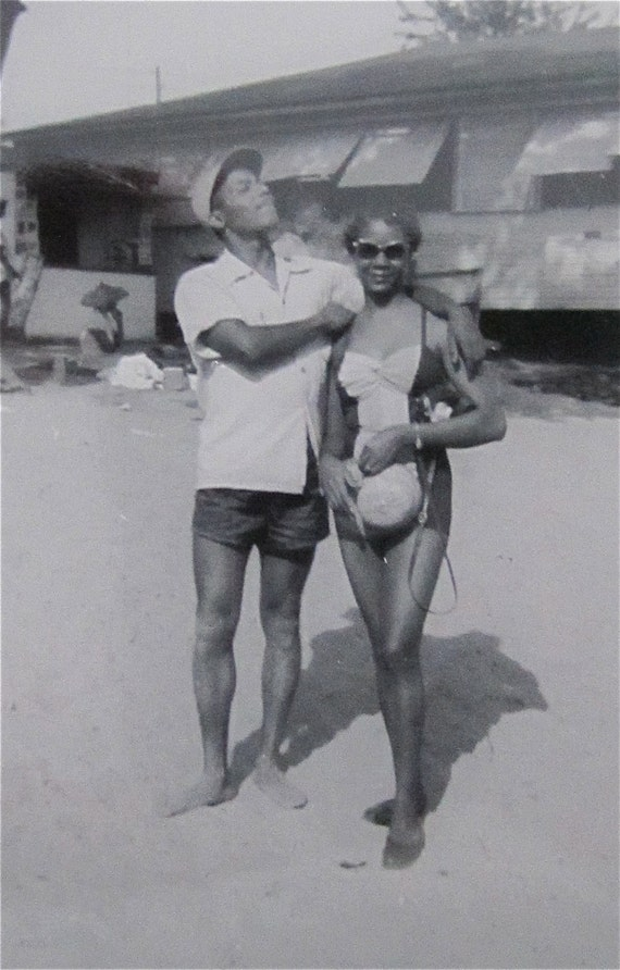 Me And My Gal - Vintage 1950's African American Bathing Suit Couple Snapshot Photo
