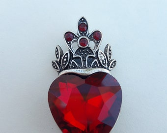 Red Crystal Royal Heart Pendant DIY Jewelry Making Supplies