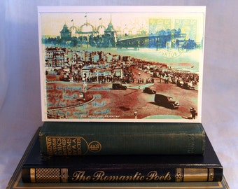Brighton Palace Pier, Aquarium, Seafront, Madeira Drive, Sussex Art, Vintage Postcards and Stamps, British, Birthday, Thanks, Greeting Card.
