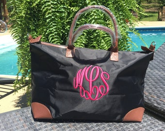 Black Personalized Nylon Weekender, Carry-On, Gym Bag, Tote