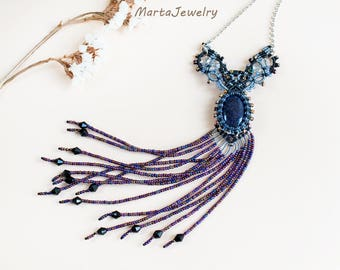 Aventurine necklace, gemstone, beaded, fringe, micro-macrame, macrame jewelry, beadwork, beadwoven, bohemian, amulet, blue gray black purple