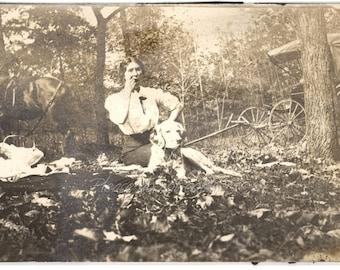 Vintage Photo ~  Victorian Picnic ~ original antique black and white photography