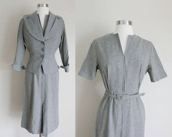 1950s Gray Wool Dress Suit | New Look Dress Suit | Neusteter's | Small