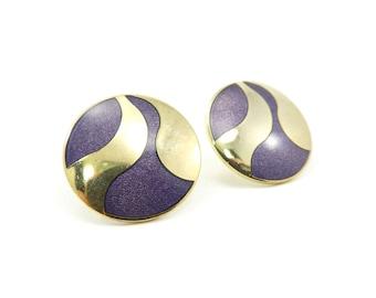 Vintage Roccoco Earrings, Purple Enamel, Swirl, Gold Tone, Posts, Signed