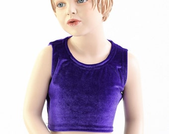 Girls Sleeveless Mermaid Crop Top TOP ONLY in Purple Stretch Velvet Sizes 2T 3T 4T and 5-12 - 153984