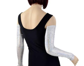 Silver on White Shattered Glass Holographic Spandex Festival Rave Arm Warmer Sleeves - 154338