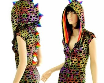 Poisonous Print Metallic Zipper Front Cap Sleeve Hoodie Romper with Rainbow Stripe Spikes & Hood Lining - 154445