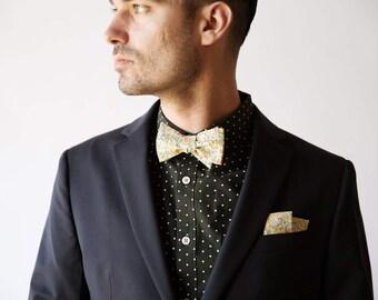 Liberty of London Print Tie, custom yellow bow tie, yellow bow tie, mustard bow tie, custom wedding bow tie, mustard bow tie, yellow bow tie