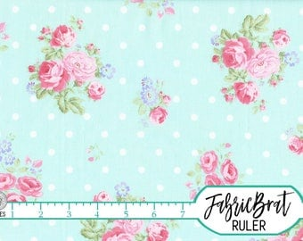 SHABBY ROSE DOT Fabric by the Yard, Fat Quarter Floral Fabric Pink Aqua Peony Fabric Shabby Chic Fabric 100% Cotton Fabric Quilt Fabric t3-9