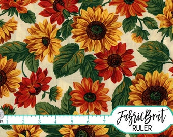 SUNFLOWER Fabric by the Yard, or Fat Quarter Orange & Yellow Fabric Autumn Fabric 100% Cotton Fabric Quilting Fabric Apparel Fabric t4-12