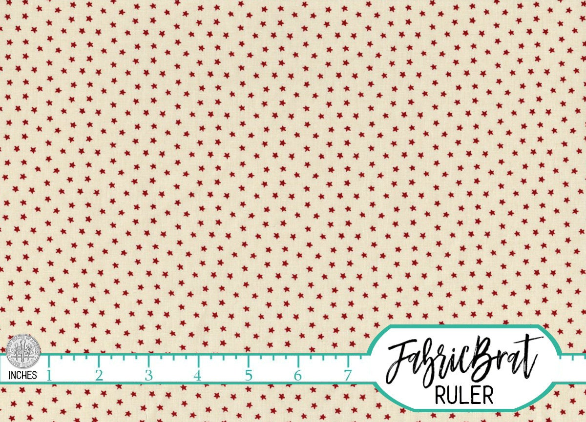 Red cream tiny star fabric by the yard fat quarter for Star fabric australia