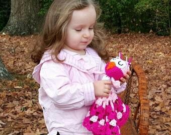 Crocheted Pink Owl Lovie Lovey Baby Blanket Girl Blankie