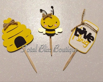 12 Bumble Bee Cupcake Toppers, Mommy To Bee, Bumble Bee Baby Shower  Decorations,