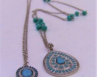 Vintage Hippie Faux Turquoise Pendant Necklace