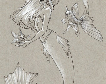 ORIGINAL INK DRAWING Swimming with the Fishes Mermaid