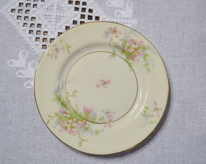 Vintage Theodore Haviland Apple Blossom Bread Dessert Plate New York Pink Floral Gold Rim Replacement Wedding Bridal PanchosPorch
