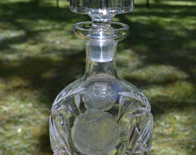 Vintage Etched Glass Decanter and Stopper Floral Rose Design Wine Liquor Whiskey Barware Glassware PanchosPorch