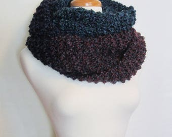 "Hand Knit ""Simple Elegance"" Infinity Scarf. Wool Free Chunky Knit Loop Scarf. Ships Free in USA"