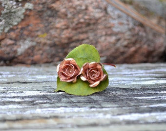 Hand Shaped Copper Rose Earrings, with Sterling Silver posts