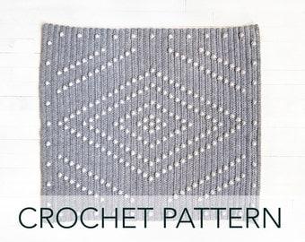 Crochet Pattern // Diamond Geometric Modern Bobble Stitch Afghan Baby Blanket Throw // Theory of Light Blanket PATTERN