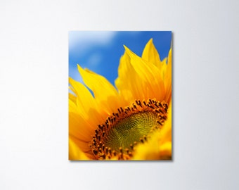 Sunflower Art, Canvas Art, Large Wall Art, Nature Photography, Yellow Floral Art On Canvas, Colorful Art, Yellow Wall Art, Blue Sky
