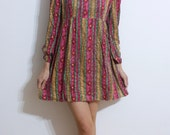 Vintage Patterned Striped Babydoll Bohemian Short Dress // Long Sleeve // Mini // Hippy // Hippies