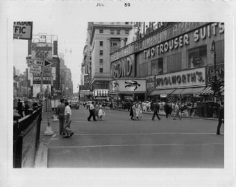 Vintage Photo..Times Square on a Saturday Afternoon, 1950's Original Found Photo, Vernacular Photography